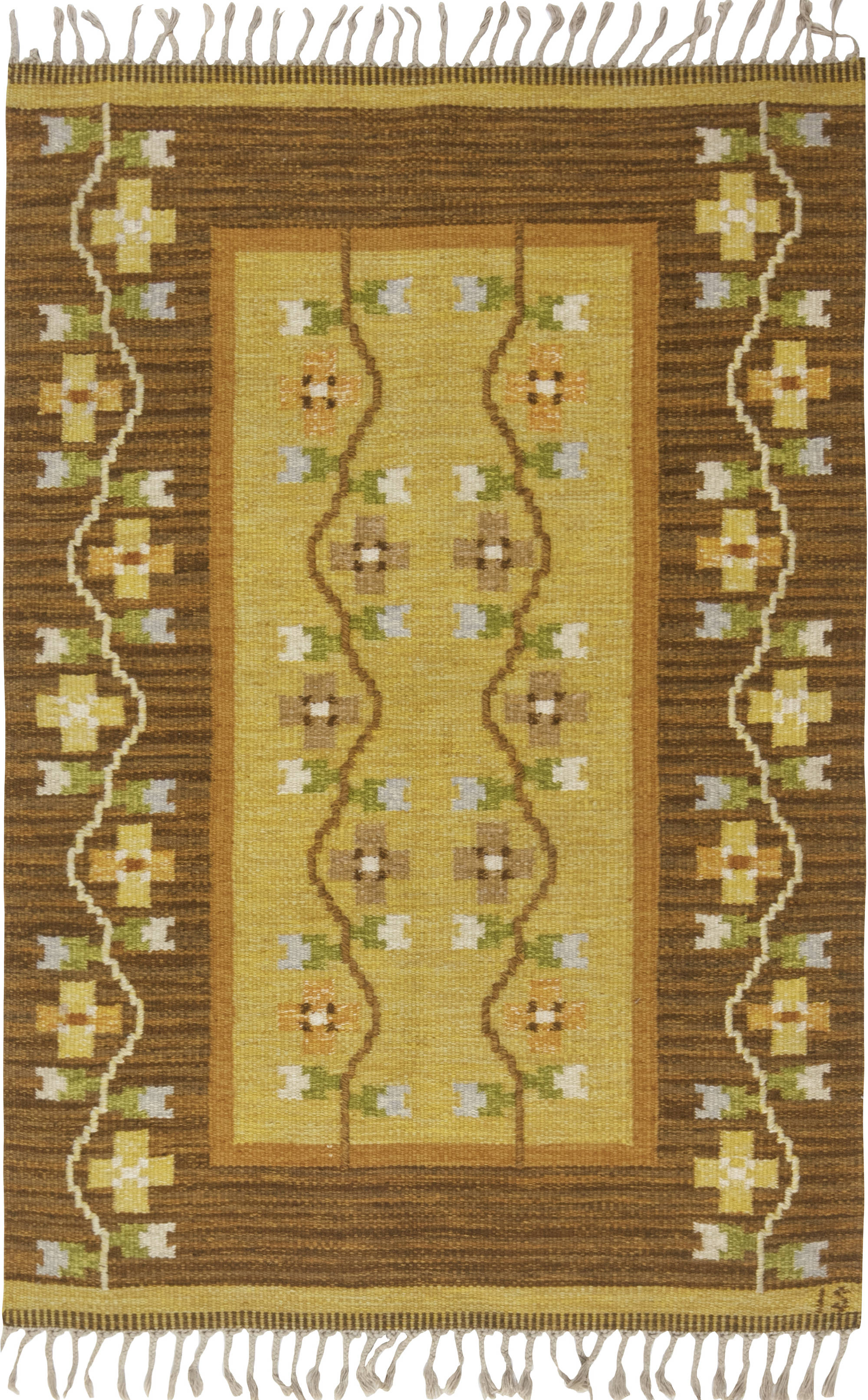 Vintage Swedish flat weave rug signed by Ingegerd Silow BB6541