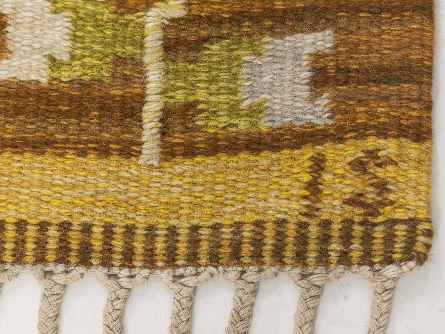 Swedish Brown and Yellow Flat-Weave Wool Rug Signed by Ingegerd Silow BB6541