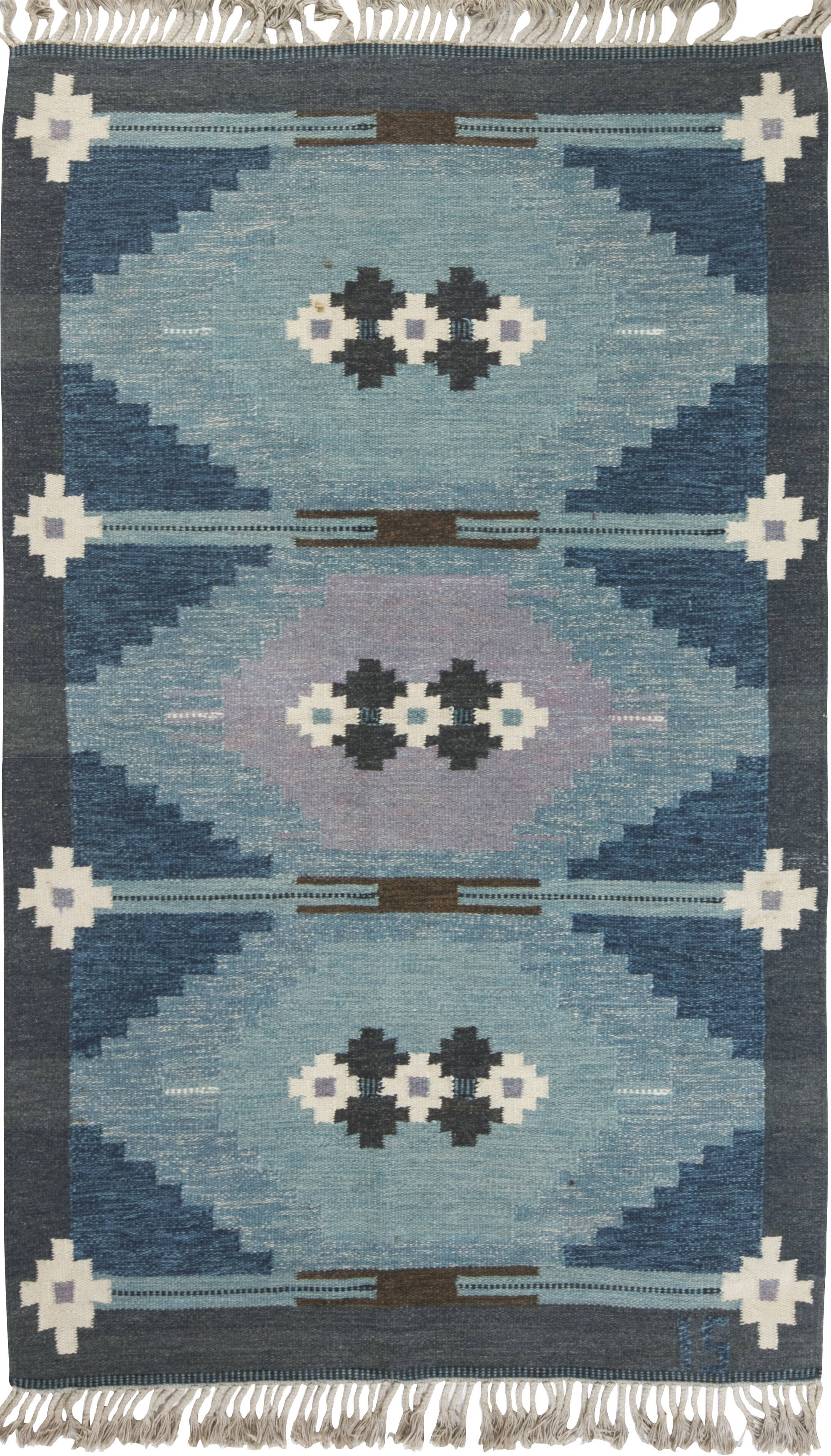 Vintage Swedish flat weave rug signed by Ingegerd Silow BB6548
