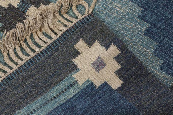 Vintage Swedish flat weave rug signed by Ingegerd Silow BB6548