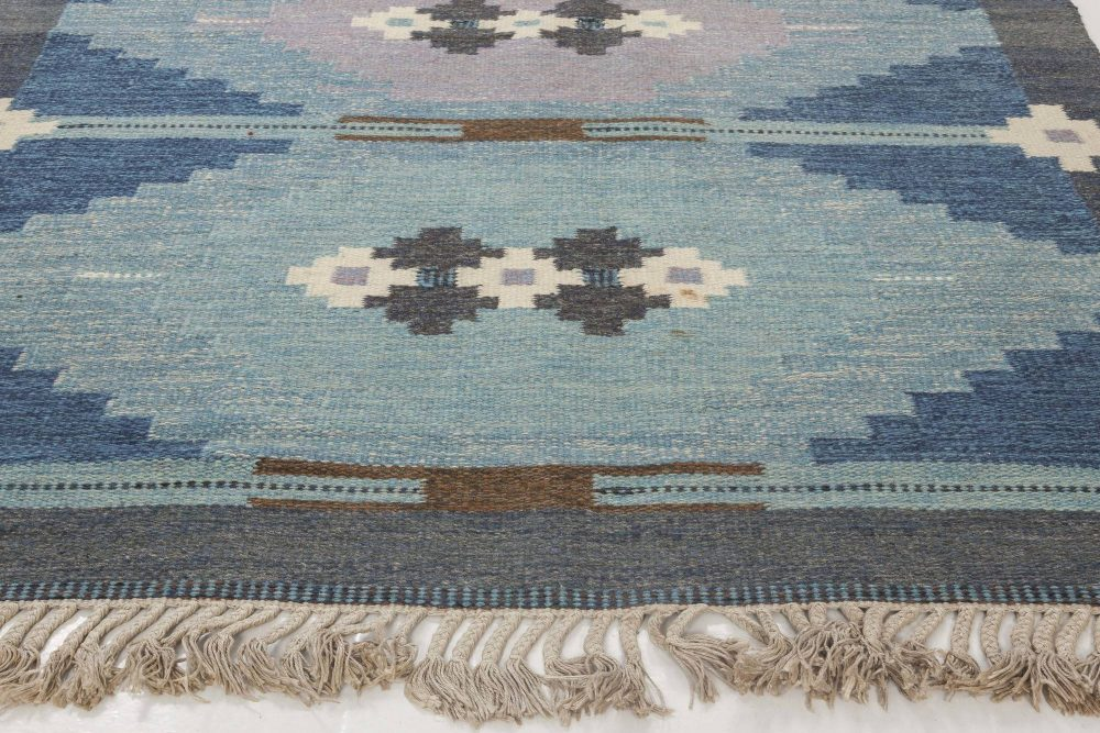 Swedish Geometric Flat-Woven Wool Rug Signed by Ingegerd Silow BB6548