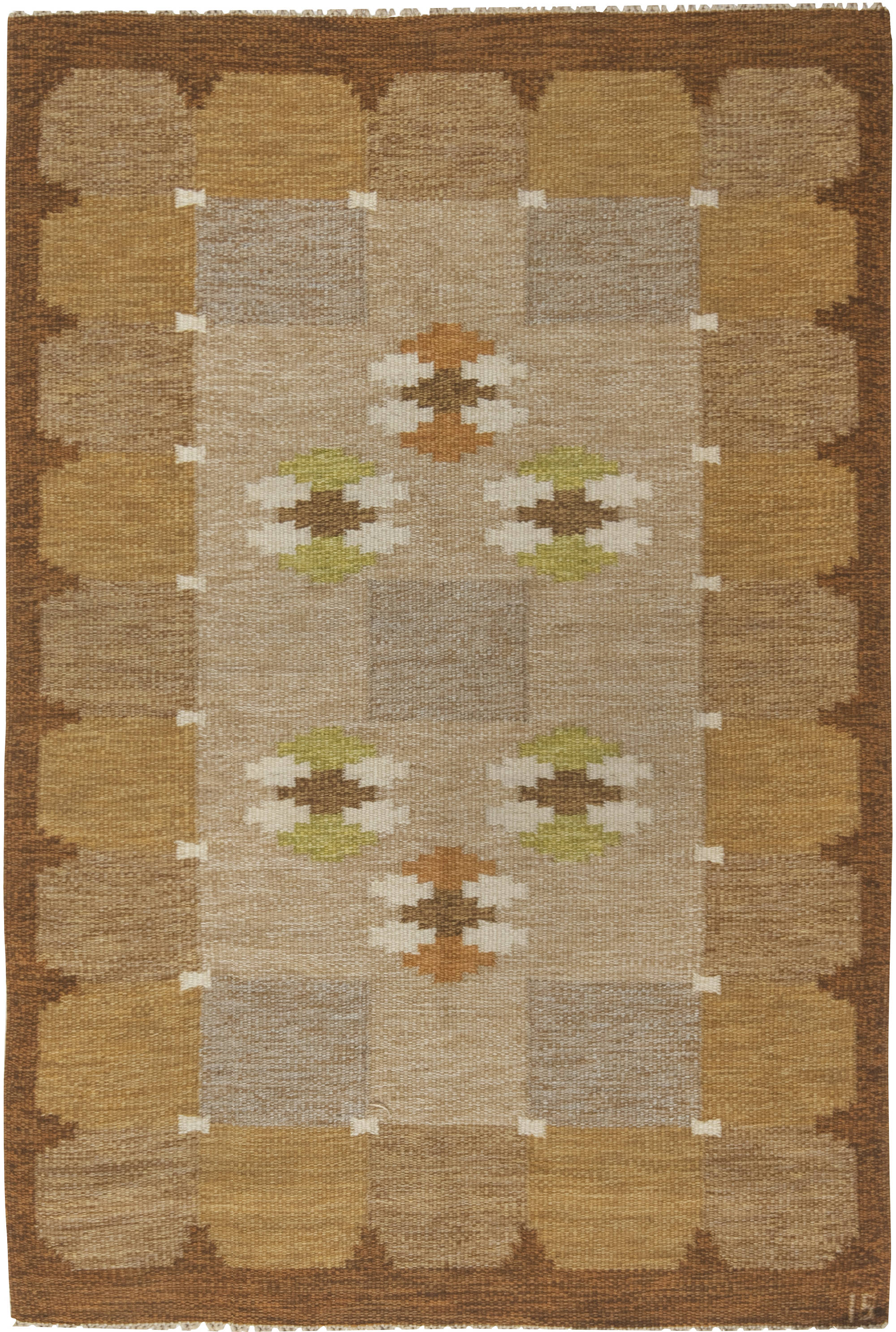 Vintage Swedish flat weave rug signed by Ingegerd Silow BB6553