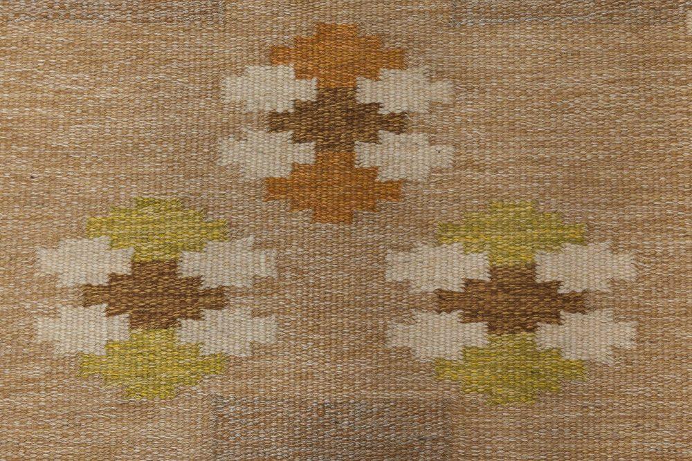 Vintage Swedish flat weave rug signed by Ingegerd Silow BB6553