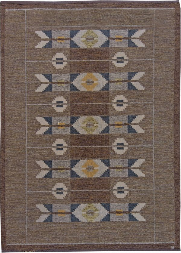 Vintage Swedish Flat Weave Rug by Ingegerd Silow BB6231