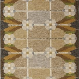 Swedish Beige, Brown, Olive and Yellow Rug Signed by Ingegerd Silow BB6558
