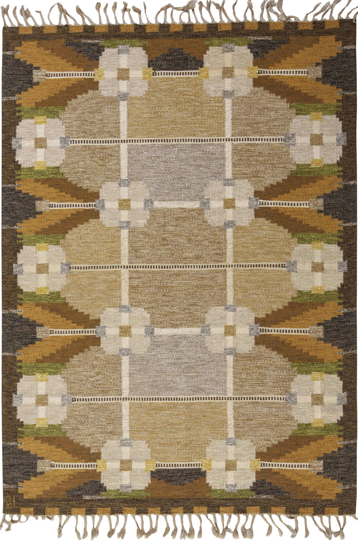 Vintage Swedish flat weave rug signed by Ingegerd Silow BB6558
