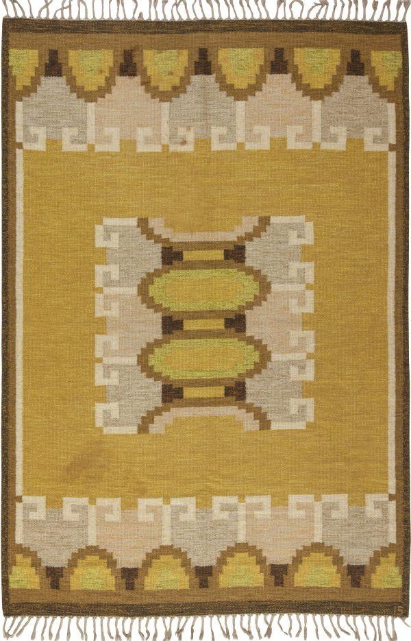 Vintage Swedish flat weave rug signed by Ingegerd Silow BB6538