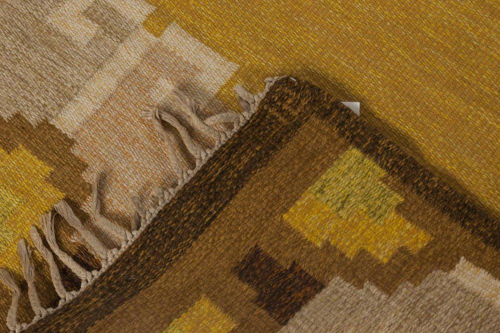 Swedish Yellow Brown & Beige Flat-Weave Rug Signed by Ingegerd Silow BB6538
