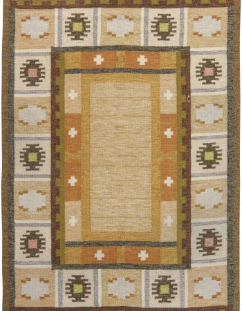 Vintage Swedish flat weave rug signed by Ingegerd Silow BB6542