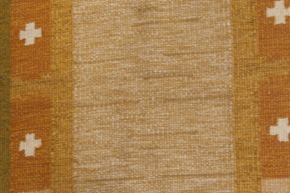 Vintage Swedish Flat-Weave Brown Rug Signed by Ingegerd Silow BB6542