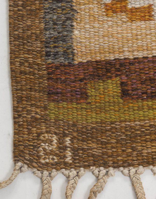 Vintage Swedish flat weave rug signed by Ingegerd Silow BB6542