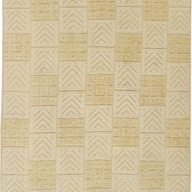 Mid-Century Swedish Rug with High Low Geometric Design in Ivory and Pale Yellow BB6329