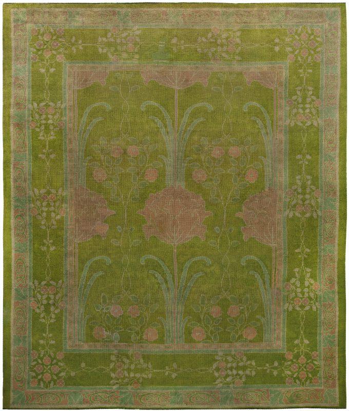 vintage-rugs-art-craft-green-floral-bb5119-13×11