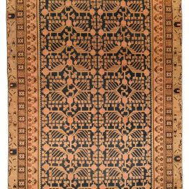 "19th Century Samarkand ""Khotan"" Indigo Blue and Beige Rug BB4349"