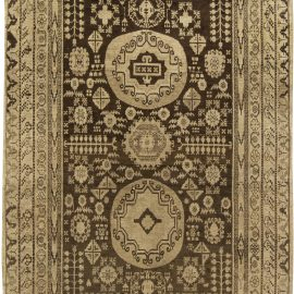 Samarkand Midcentury Sandy Beige and Brown Wool Rug BB6424