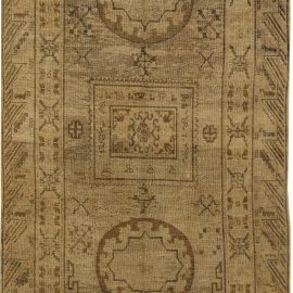 Midcentury Samarkand Caramel and Dark Brown Hand Knotted Wool Rug BB6430