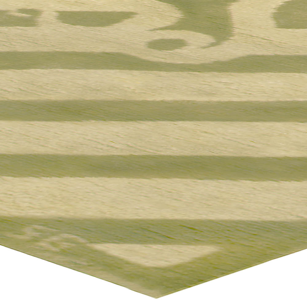 Vintage Art Deco Ivory and Soft Green Hand Knotted Wool Rug BB4961