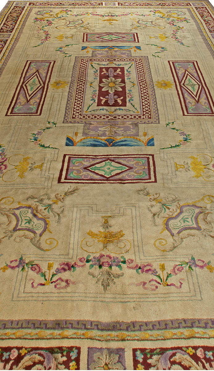 Vintage Spanish Savonnerie Rug Size Adjusted Bb2786 By Dlb