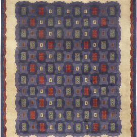 French Art Deco Purple and Red Handwoven Wool Rug by Paule Leleu BB5009