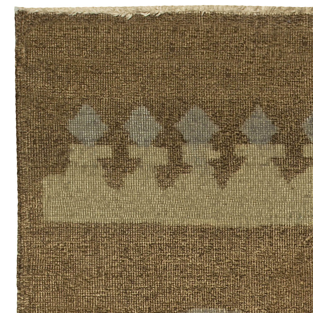 Vintage French Art Deco Brown and Blue Handwoven Wool Rug BB5120