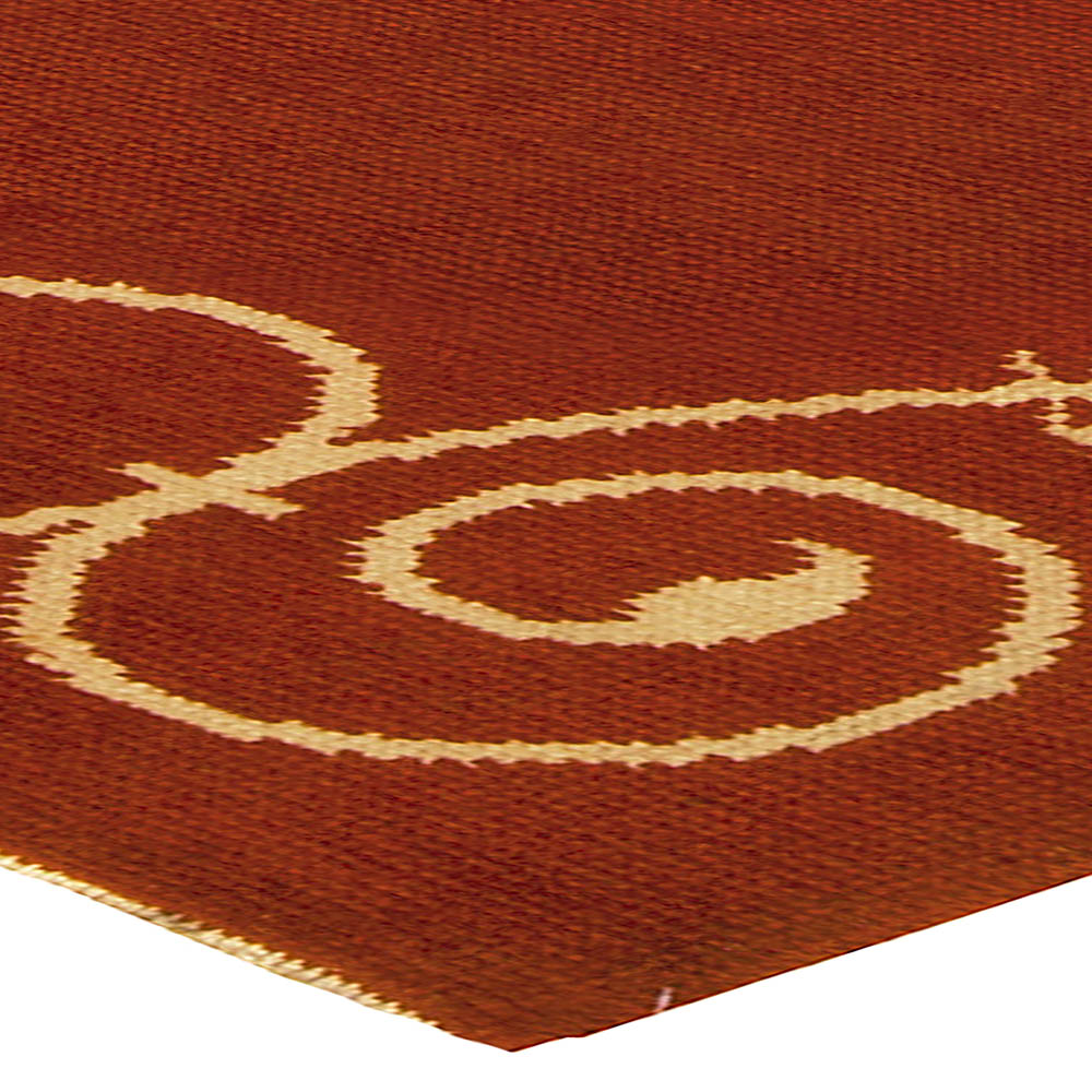 French Art Deco Midcentury Ruddy Brown and Beige Hand Knotted Rug BB5017