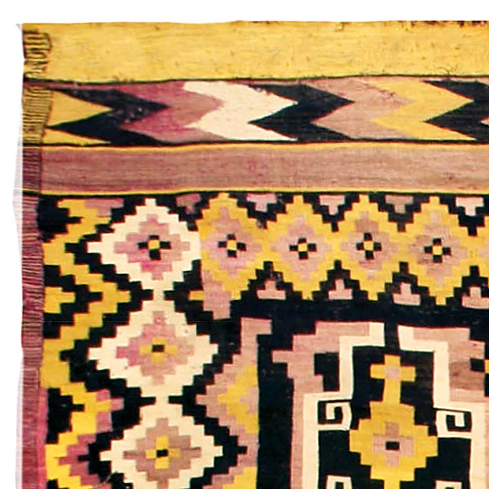 Antique Afghan Black, Yellow and Rose Kilim Wool Rug BB4480