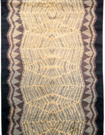 Antique Turkish Deep Brown and White Flat-Weave Wool Runner BB5784