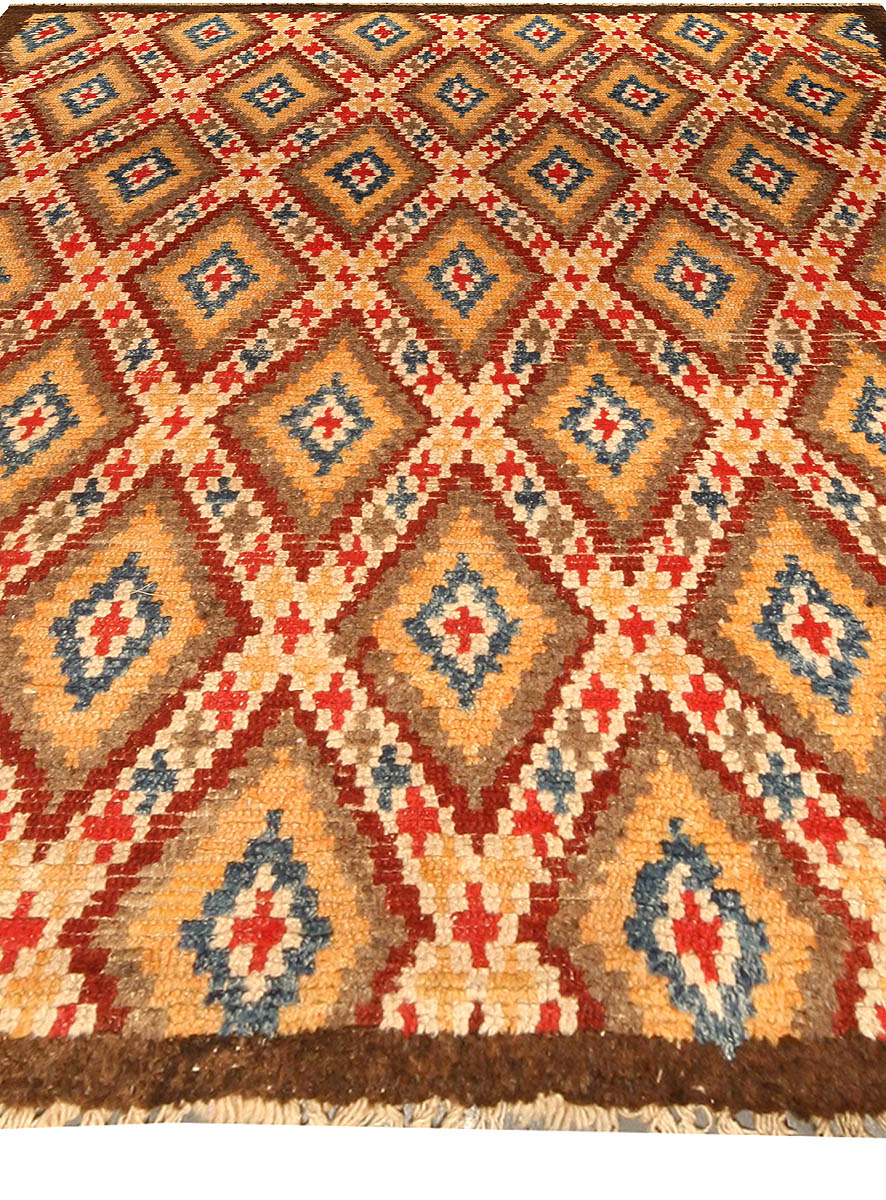 Moroccan Midcentury Red, Blue, Tan, Yellow and Ivory Hand Knotted Rug BB4550