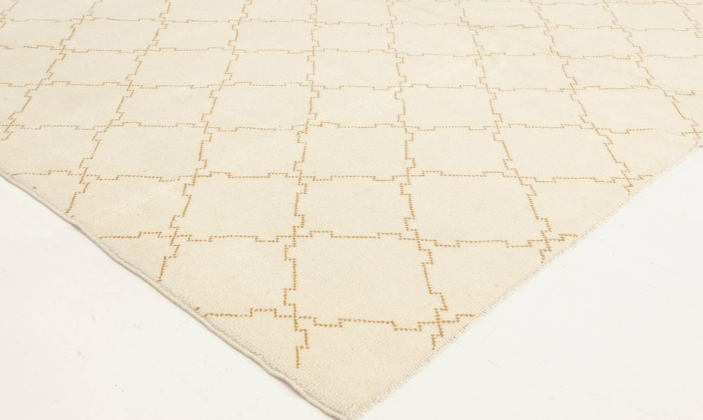 Vintage Moroccan Cream and Brown Wool Rug BB3522