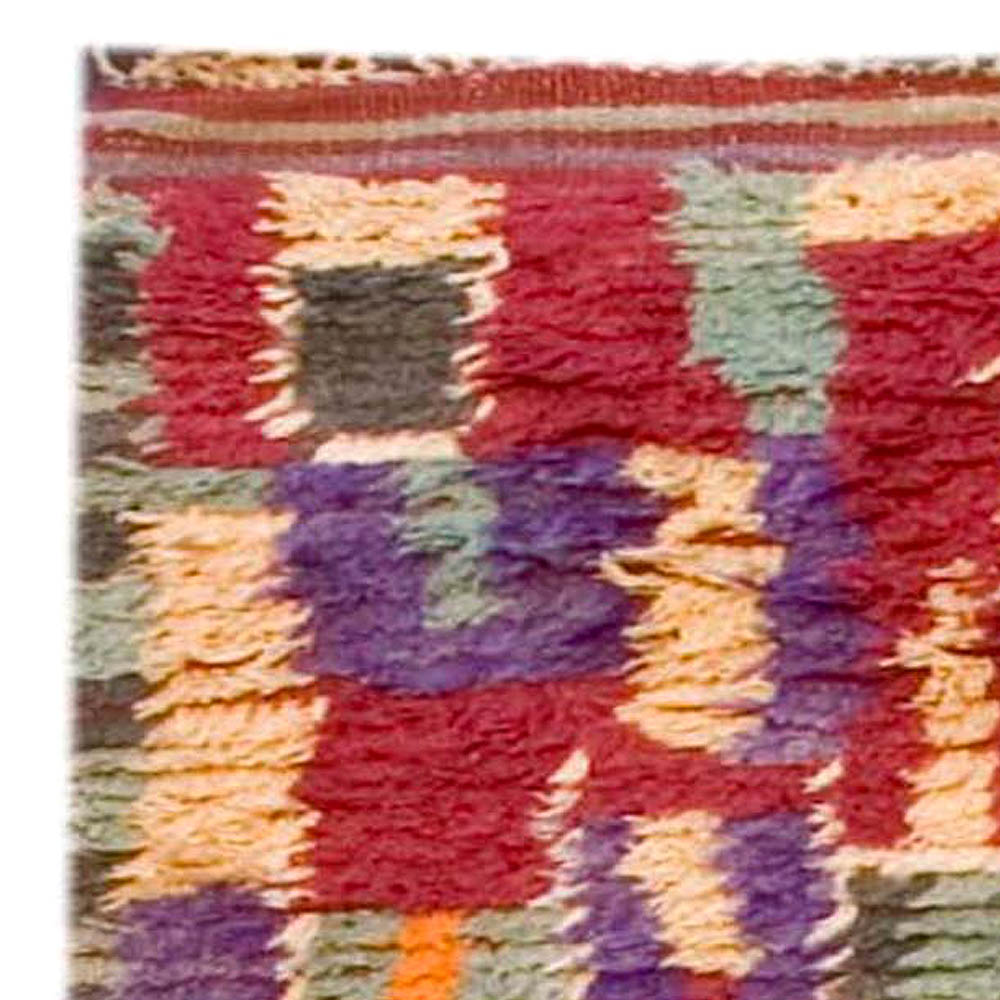Vintage Mid-Century Moroccan Pile Rug in Bright Green, Purple, Red, Cream, and Brown BB3689