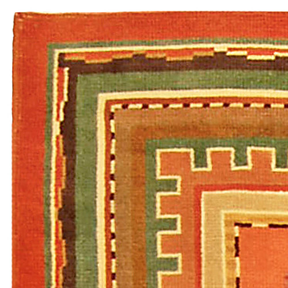 Swedish Mid Century Green and Salmon Handwoven Wool Rug BB4791