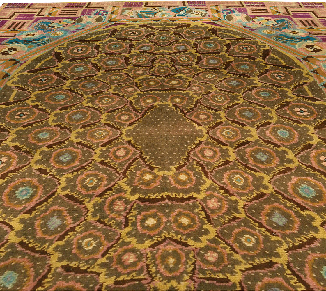 Vintage French Art Deco Rug Bb4342 By Dlb