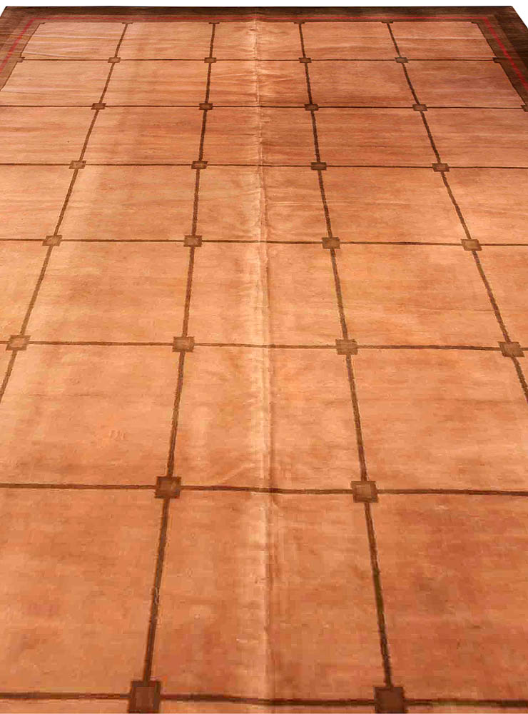 Vintage French Art Deco Camel, Cocoa, Tan & Red Wool Rug BB1944