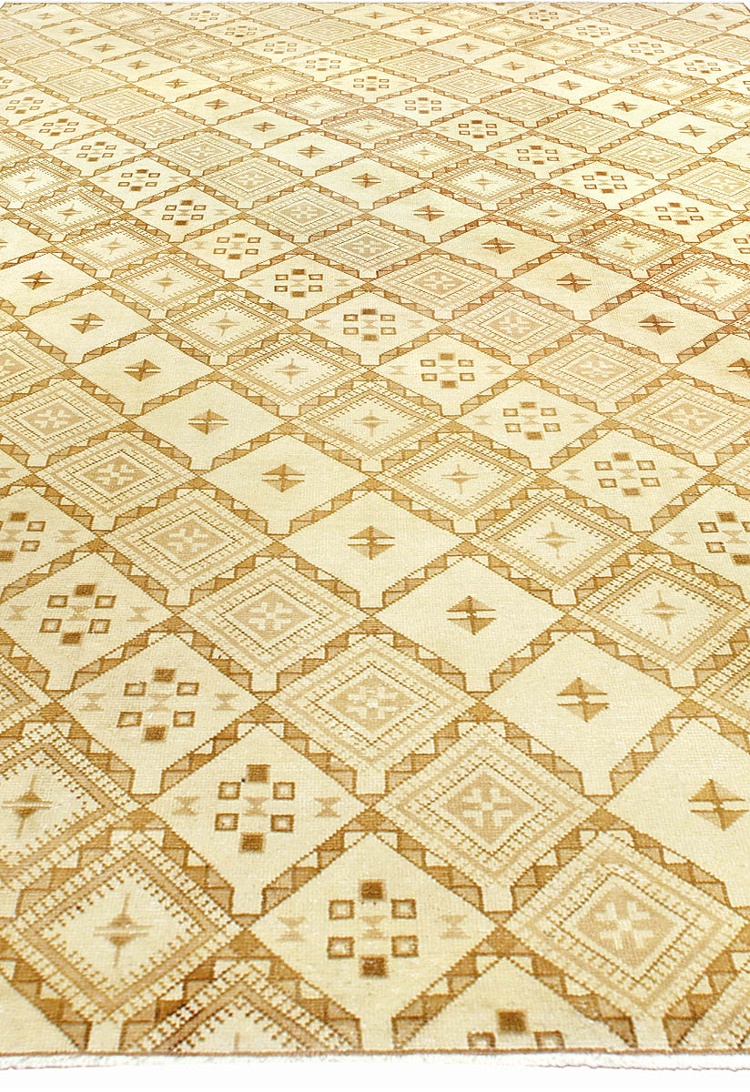 Moroccan Midcentury Yellow, Beige and Brown Hand Knotted Wool Rug BB5225