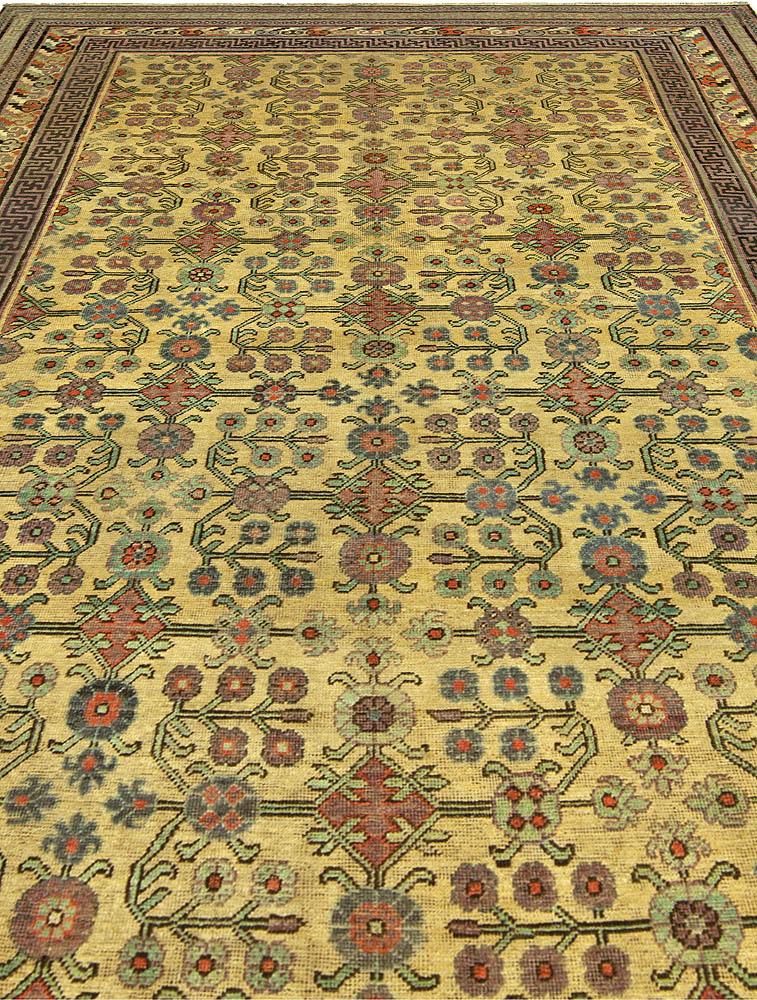 "Vintage Samarkand ""Khotan"" Violet, Red, Yellow, Green & Blue Wool Rug BB5237"