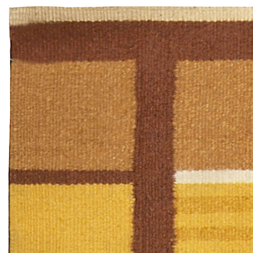 Midcentury Swedish Yellow, Brown and White Handwoven Wool Rug BB4940