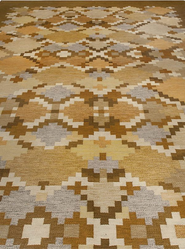 Vintage Swedish flat weave rug signed by Ingegerd Silow BB5074