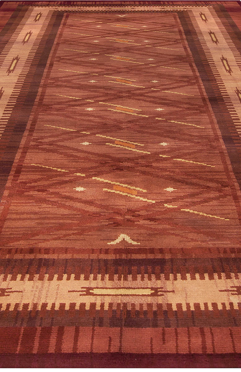 Vintage Mid-Century Scandinavian Hand-knotted Wool Rug in Rust and Beige BB4960