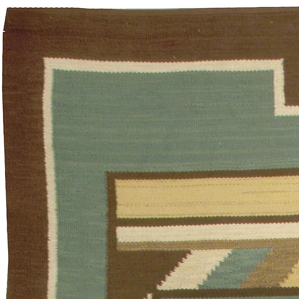 Swedish Midcentury Green Handwoven Wool Rug BB5006