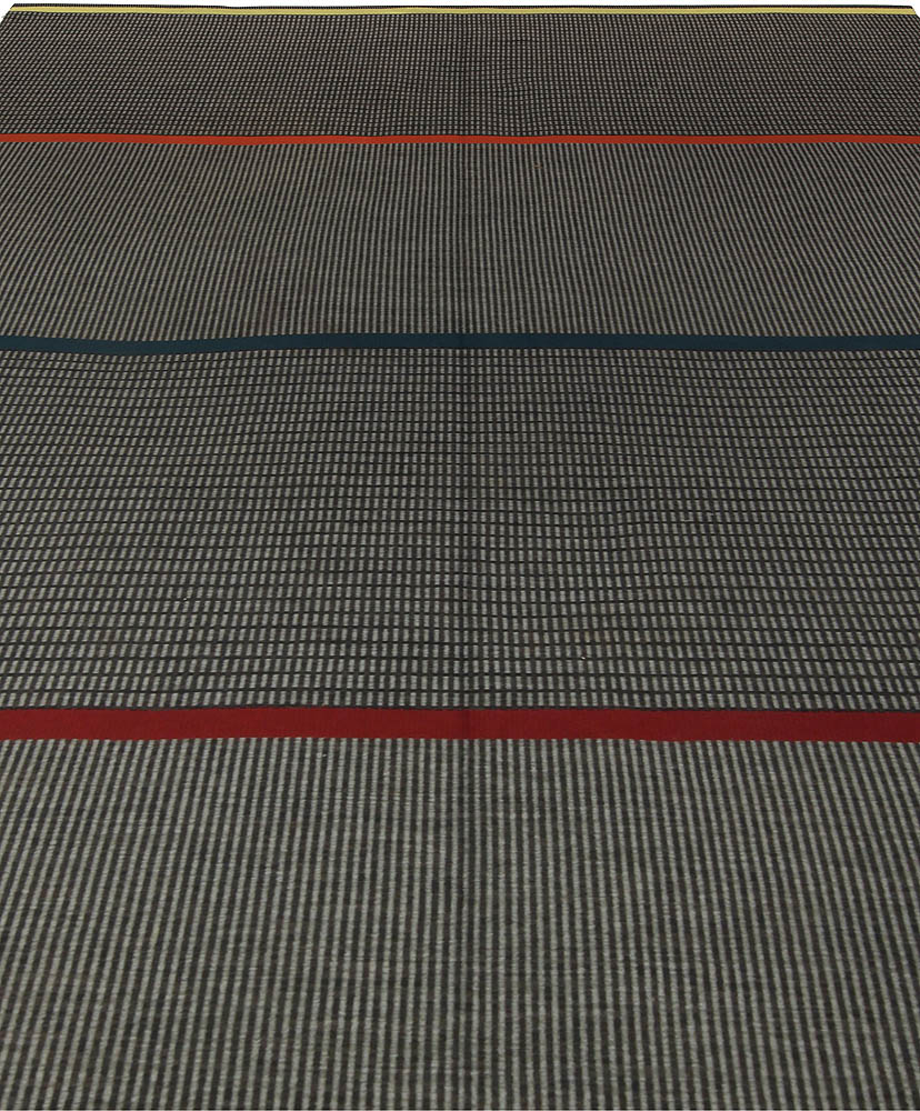 Swedish Gray, Blue and Red Striped Flat-Weave by Lagerhem Ullberg BB5315