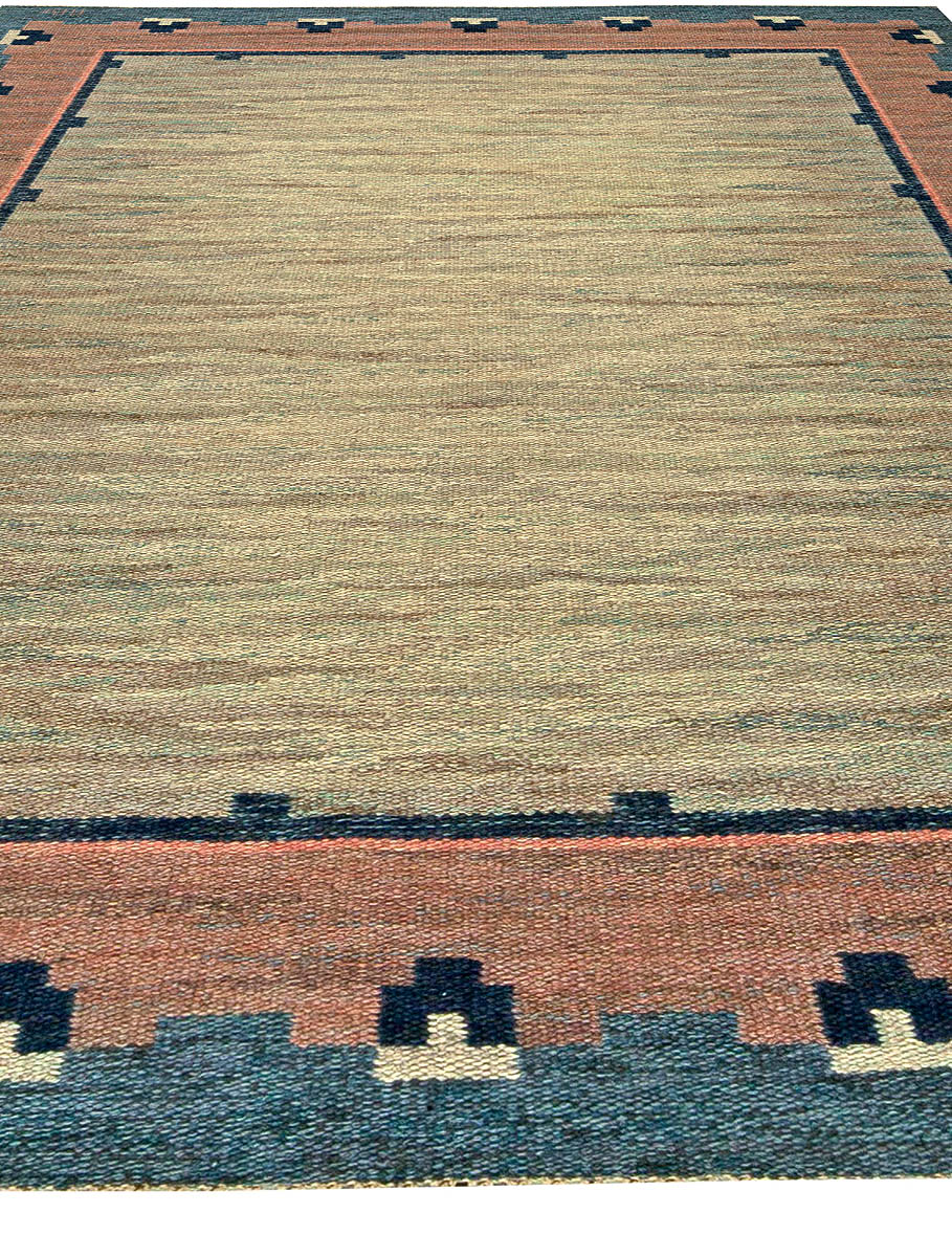 """Swedish Midcentury Light Gray, Blue and Pink Rug by """"ABJ"""" BB5811"""