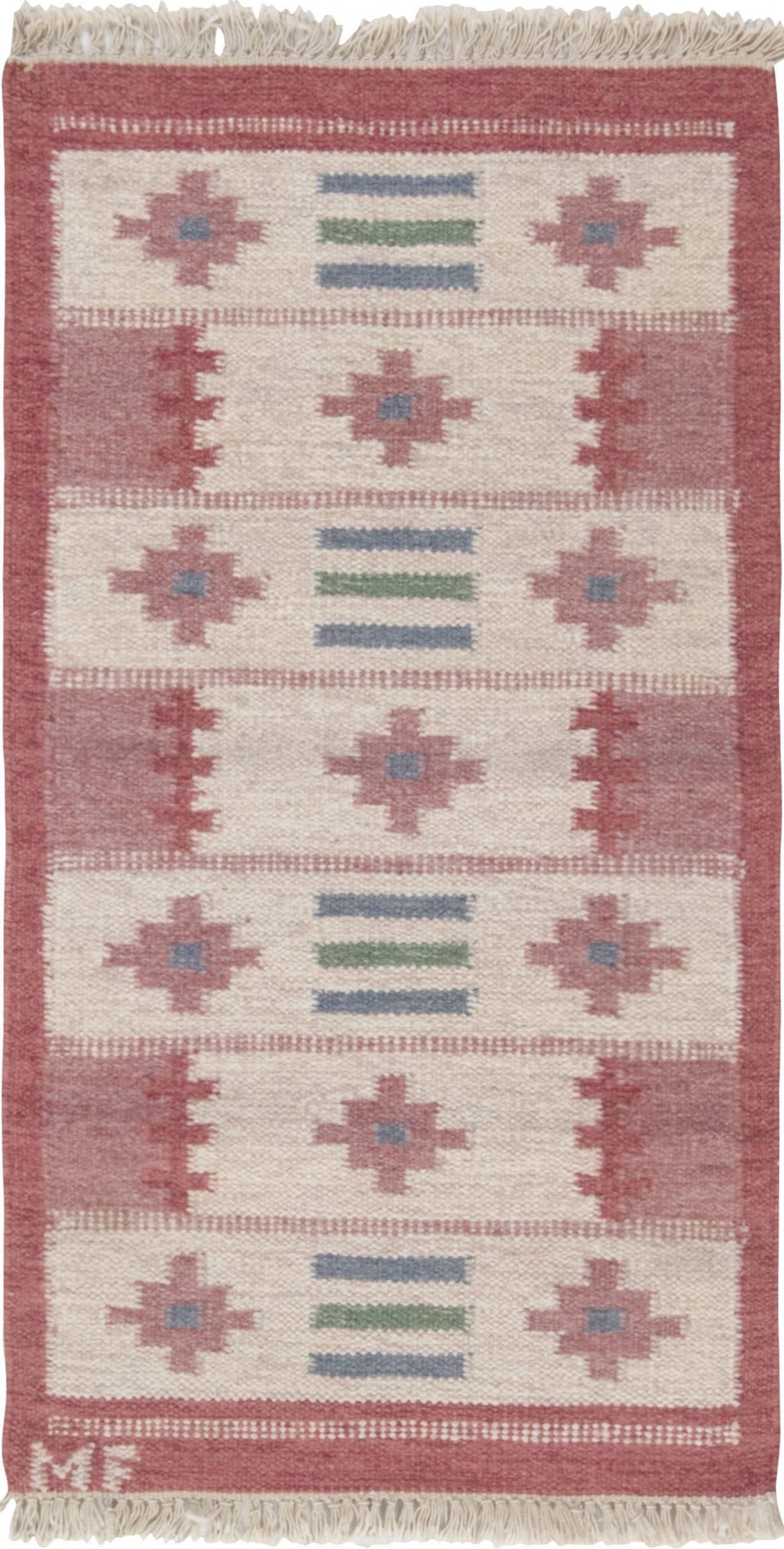 Vintage Swedish flat weave rug signed (MF) BB6543