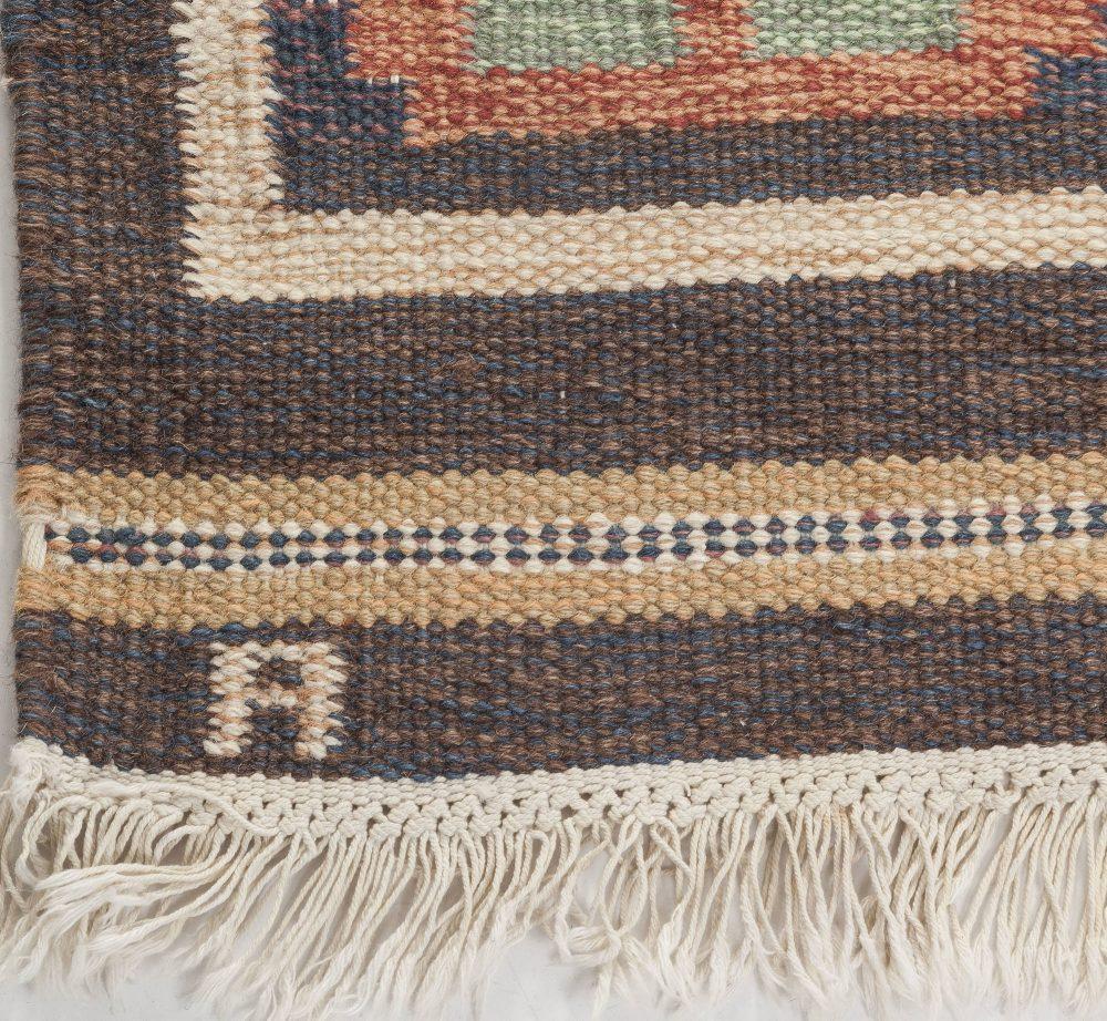 Vintage Swedish Flat Weave Rug Signed by Anna Johanna Angstrom BB6550