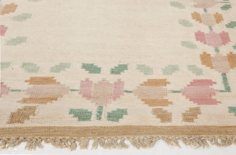 Vintage Swedish Flat Weave Rug  Signed by  Anne Marie Boberg BB6552