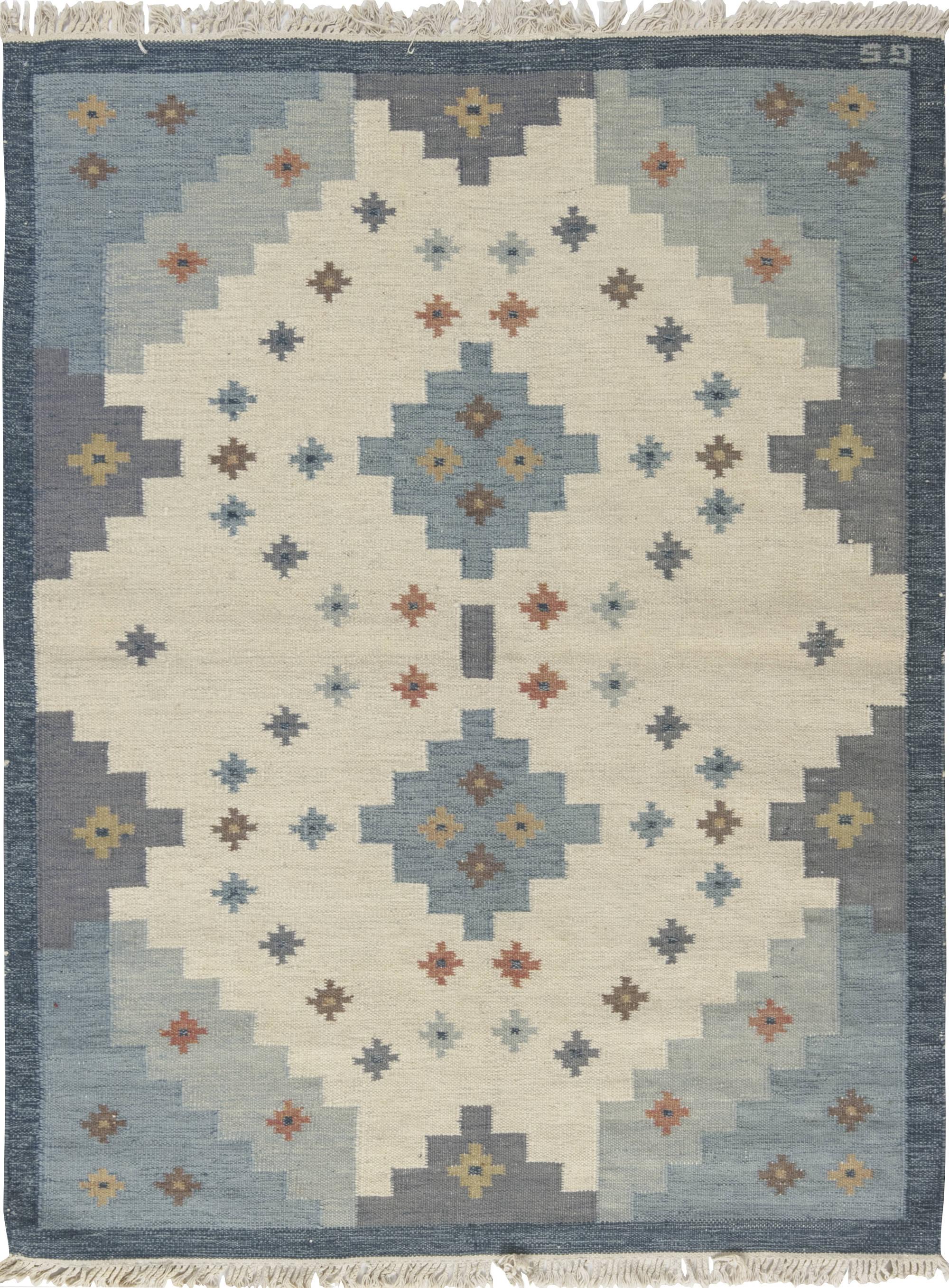 Vintage Swedish Flat-Weave Rug by Sverker Greuholm BB6554