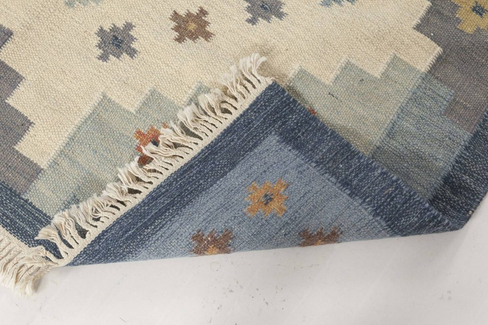 Snowflake Mid-Century Swedish Rug in Blue, Grey, White, and Rust – by Sverker Greuholm BB6554