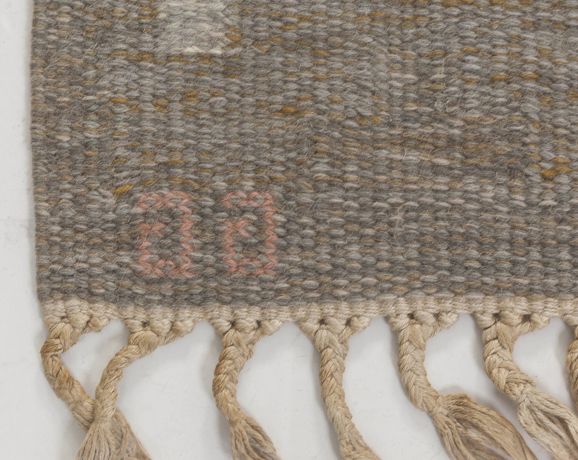 Mid-Century Swedish Wool Rug by Grannsjo Carlsson in Grey, Taupe, and Pink BB6545