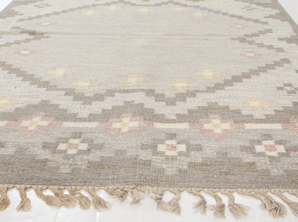 Vintage Swedish Flat Weave Rug Signed by Gitte Grannsjo Carlsson BB6545