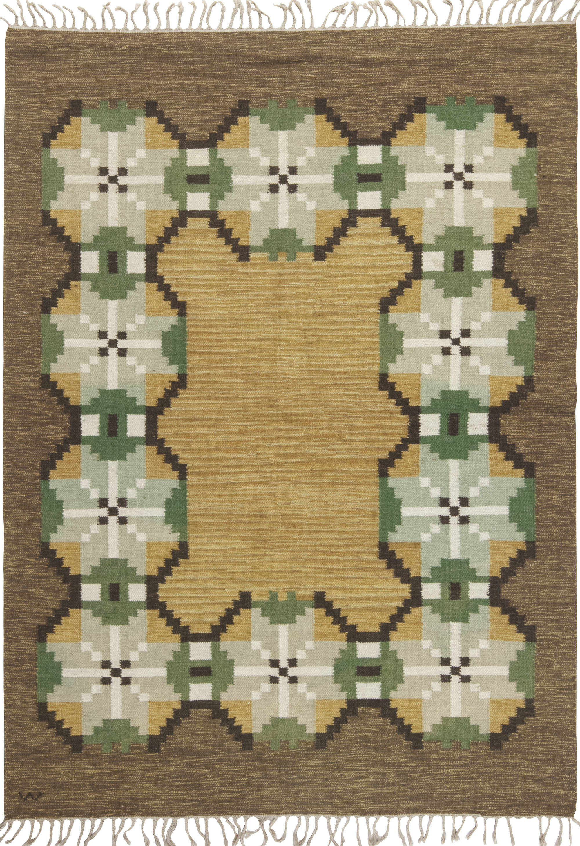 Vintage Swedish Flat Weave Rug  Signed (W) BB6544