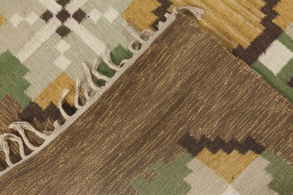 Swedish Brown, Gray, Green and Yellow Flat-Weave Wool Rug Signed W BB6544